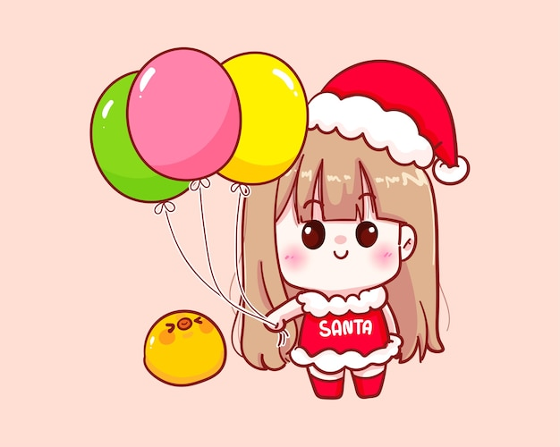 Nettes mädchen im weihnachtsmannkostüm, das ballonillustration hält