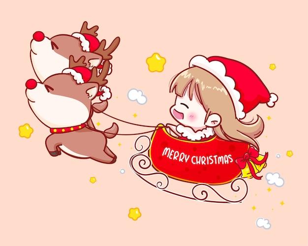 Nettes mädchen im weihnachtsmannkostüm, das im schlitten fliegt glückliche frohe weihnachtsillustration