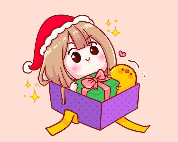 Nettes mädchen im weihnachtsmannkostüm, das in einer geschenkboxillustration sitzt