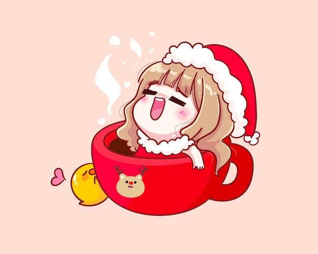 Nettes mädchen im weihnachtsmannkostüm, das in einer kaffeetassenillustration sitzt