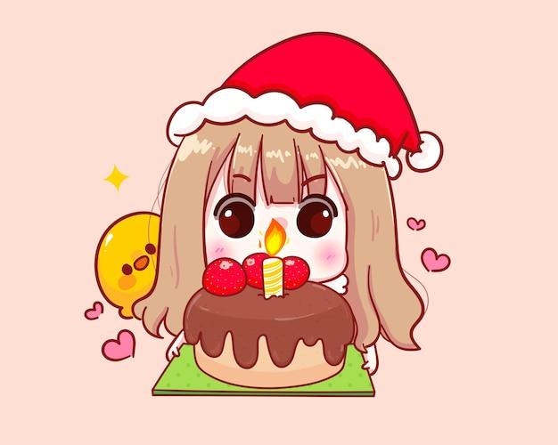 Nettes mädchen im weihnachtsmannkostüm halten kuchenillustration