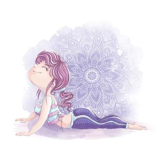 Nettes mädchen in einem trainingsanzug führt eine übung im yoga oder in der fitness durch. sportfigur im stil der handzeichnung.