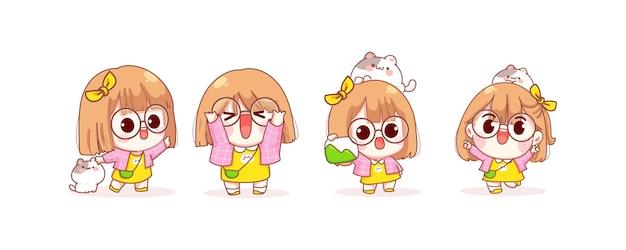 Nettes mädchen in verschiedenen gesten cartoonillustration