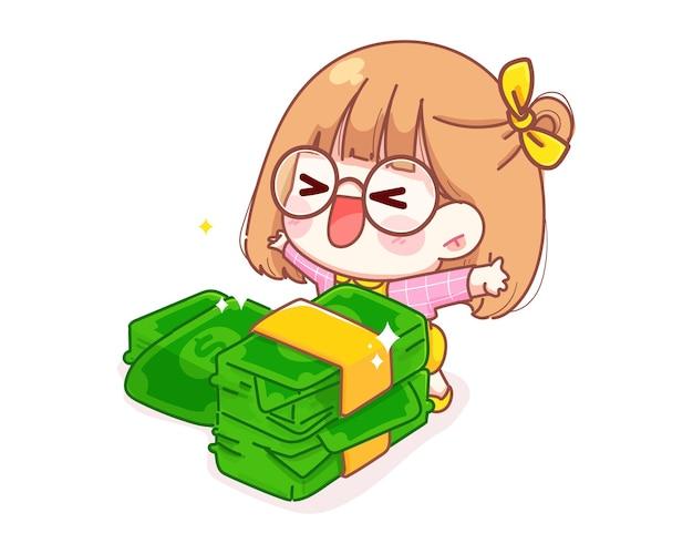 Nettes mädchen ist froh, die geldkarikaturillustration zu erhalten