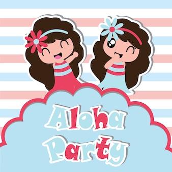Nettes mädchen ist glücklich in aloha parteivektorkarikatur auf gestreiftem hintergrund, geburtstagspostkarte, tapete und grußkarte, t-shirt entwurf für kinder