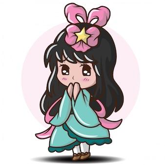 Nettes mädchen japanisch im prinzessinnenkostüm. charakter cartoon
