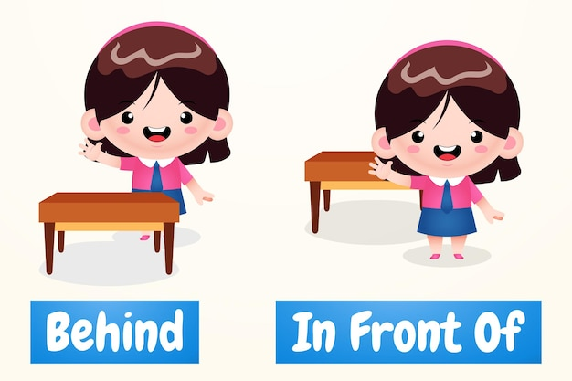 Nettes mädchen-karikatur-beispiel des entgegengesetzten wort-antonyms vor und hinter
