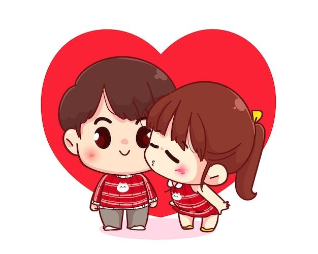 Nettes mädchen küsst ihren freund, glücklichen valentinstag, zeichentrickfigur-illustration
