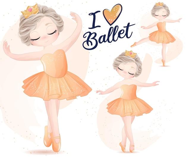 Nettes mädchen mit ballerina-aquarell-illustrationssatz
