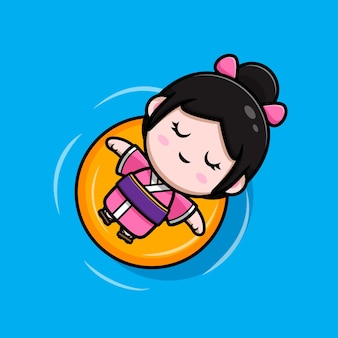 Nettes mädchen mit kimonokleid, das auf dem wasser schwimmt, mit schwimmender bouy-cartoon-illustration