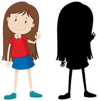 Nettes mädchen mit langen haaren in farbe und silhouette
