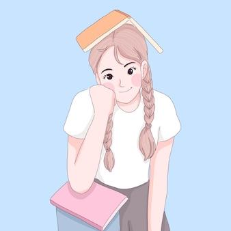 Nettes mädchen mit lehrbuchkarikaturillustration