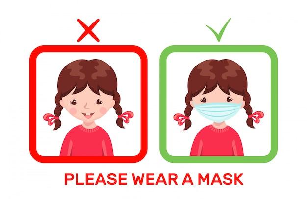 Nettes mädchen mit medizinischer maske und ohne maske im karikaturstil lokalisiert