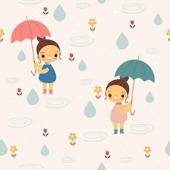 Nettes mädchen mit regenschirm unter dem nahtlosen muster des regens