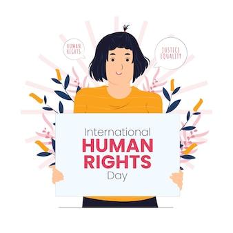 Nettes mädchen mit schild internationaler tag des konzepts der menschenrechte