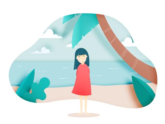 Nettes mädchen mit schöner strandillustration
