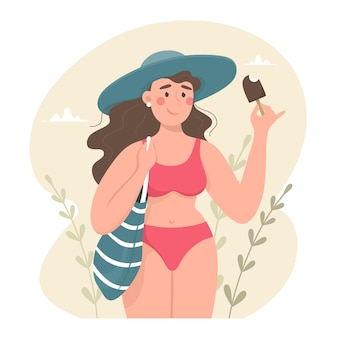 Nettes mädchen mit strandtasche im badeanzug und im hut, die eiscreme, sommer und badesaison essen. vektorillustration im karikaturstil.