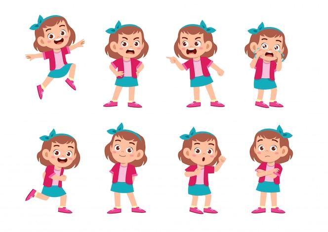 Nettes Mädchen mit vielen Gestenausdrücken