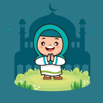 Nettes mädchen moslem ramadan cartoon charakter illustration