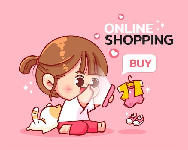 Nettes mädchen online-shopping auf handy-cartoon-kunstillustration