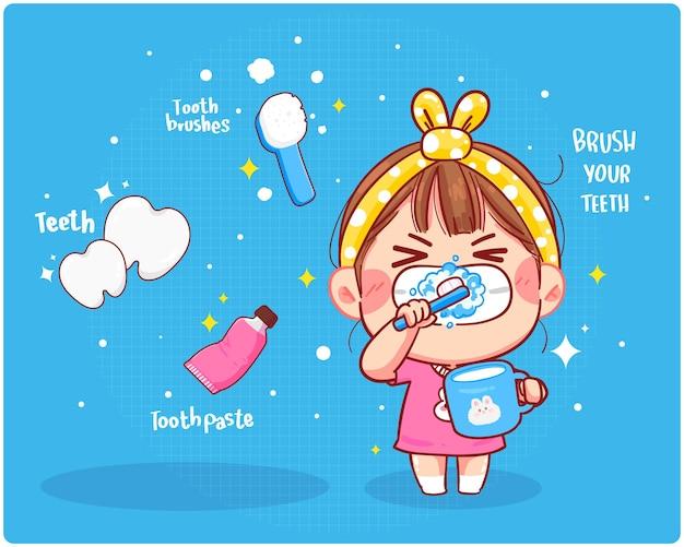 Nettes mädchen putzen saubere zähne, putzen sie ihre zähne karikaturkunstillustration