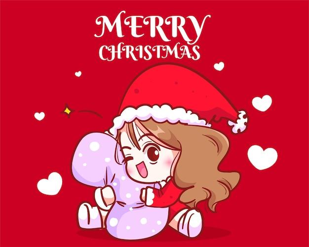 Nettes mädchen sankt, das ein kissen auf gezeichneter karikaturkunstillustration der weihnachtsfeiertagsfeier hand umarmt