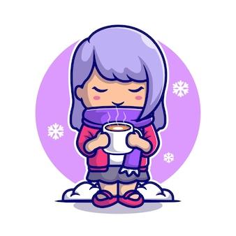 Nettes mädchen trinken heißen kaffee im schnee cartoon icon illustration.
