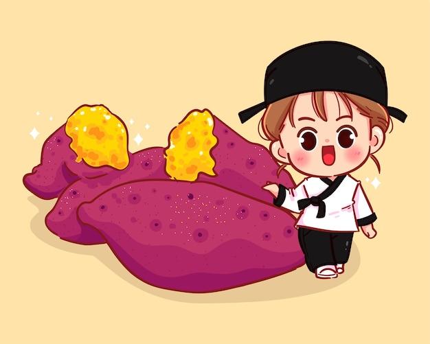 Nettes mädchen und japanische gedämpfte karikaturkunstillustration der süßkartoffel