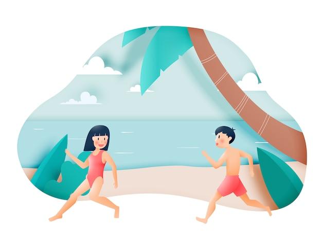 Nettes mädchen und junge mit schöner strandillustration
