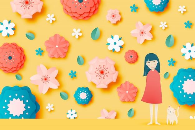 Nettes mädchen und katze mit schöner blumenpapierkunst und pastellfarbschema