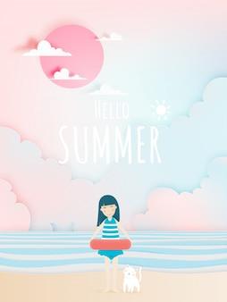 Nettes mädchen und katze mit schöner strandhintergrundpapierkunst und pastellfarbschema