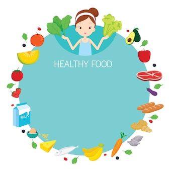 Nettes mädchen und nützliche nahrungsmittel-objekt-symbole auf rundem rahmen, gesundes essen