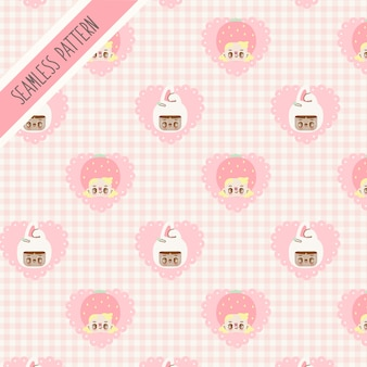 Nettes mädchen und rosa herz nahtloses muster. handgezeichneter hase