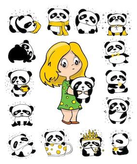 Nettes mädchen und satz doodle-pandas. perfekt für kinderkarten, poster und drucke.