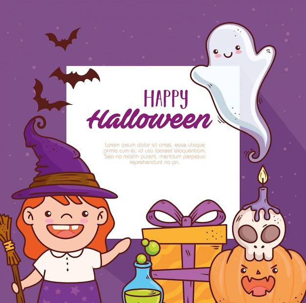 Nettes mädchen verkleidet von hexe für glückliche halloween-feier mit ikonendekorationsvektorillustrationsentwurf