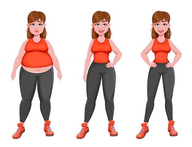 Nettes mädchen vor und nach gewichtsverlust