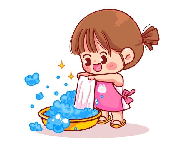 Nettes mädchen wäscht kleidungskarikaturkunstillustration