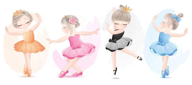 Nettes mädchenballerina stellte mit aquarellillustration ein
