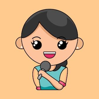 Nettes mädchengespräch mit einem mikrofon