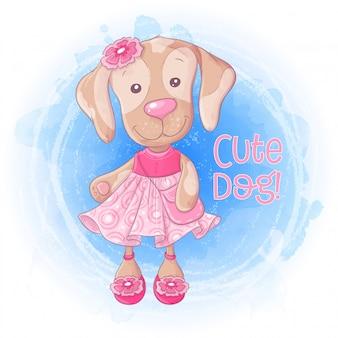 Nettes mädchenhündchen der karikatur mit einer handtasche in einem rosa kleid.
