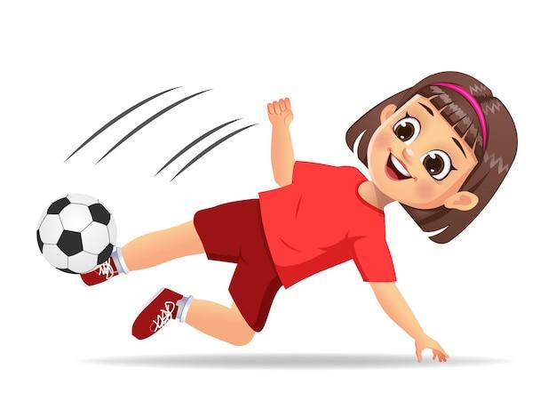 Nettes mädchenkind, das fußball spielt