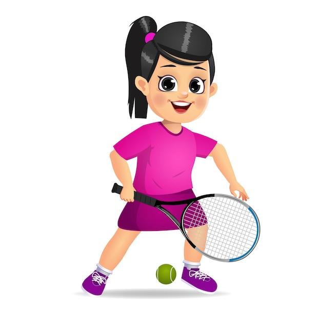 Nettes mädchenkind, das tennis spielt
