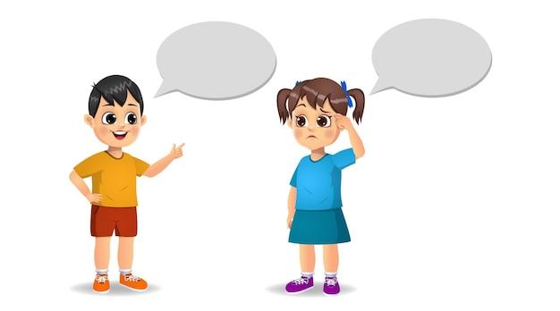 Nettes mädchenkind und jungenkind, die miteinander sprechen