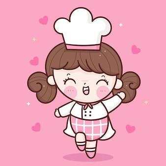 Nettes mädchenkochkarikatur kawaii bäckereimaskottchen