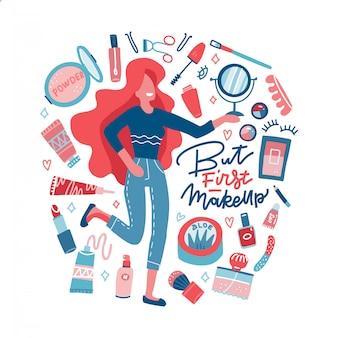 Nettes mädchenpflege für ihre haut und make-up. gesichts- und körperpflegekonzept. schöne junge frau und satz verschiedener kosmetika isoliert. kosmetikprodukte für die hautpflege in flaschen. karikatur flache illustration