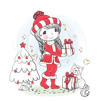 Nettes mädchenweihnachtsgeschenke mit gezeichneter katzenillustrationshand