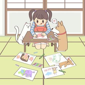 Nettes mädchenzeichen, das mit katze und hund sitzt