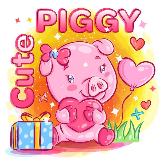 Nettes männliches schwein, das in liebe mit valentinstag-geschenkillustration glaubt