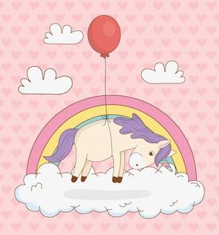 Nettes märchen einhorn mit ballon helium und regenbogen