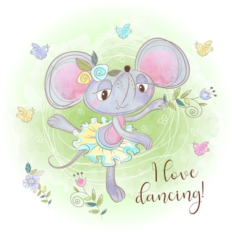 Nettes mäuseballerinatanzen. ich liebe es zu tanzen. inschrift.